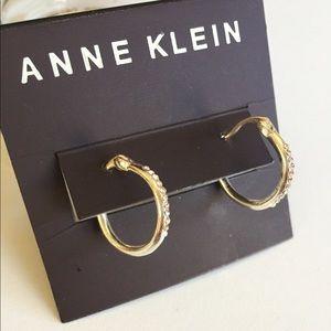 Anne Klein Silver Tone Pavé Hoop Earrings